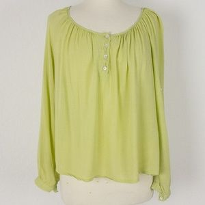 I Love H81 M Womens Boho Blouse Green Thin Baggy